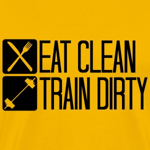 Clean healthy eat sleep train logo exercise button T-Shirts - Men's Premium T-Shirt