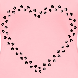 Paw Prints Heart Mark II - Women's Premium T-Shirt