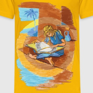 Woman Reading - Kids' Premium T-Shirt