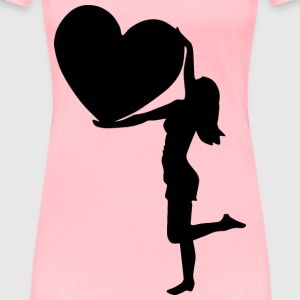 Woman With Big Heart Silhouette - Women's Premium T-Shirt