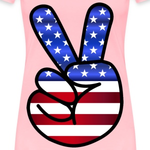 US Flag Peace Hand Sign - Women's Premium T-Shirt