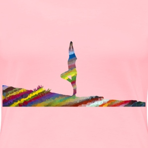 Low Poly Prismatic Streaked Female Yoga Pose Stan - Women's Premium T-Shirt