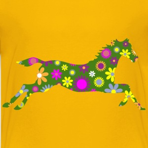 Retro Floral Galloping Horse - Kids' Premium T-Shirt