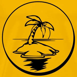 Island palm sun holiday button T-Shirts - Men's Premium T-Shirt