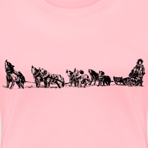 dog sled and team - Women's Premium T-Shirt
