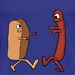 Hot Dog Bun and wiener couple shirt - Men's Premium T-Shirt