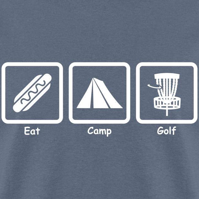 Eat, Camp, Play Disc Golf - Men's Shirt - White Print