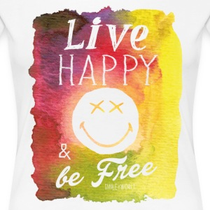 SmileyWorld Live Happy And Be Free - Women's Premium T-Shirt