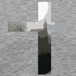 Crucifix And Church - Men's Premium T-Shirt