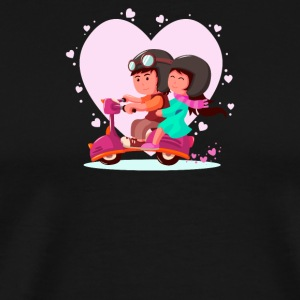 Lovely couple riding a vespa - Men's Premium T-Shirt