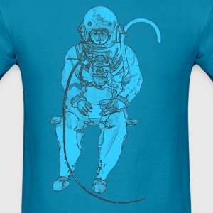 Sitting Vintage Diver with Diving Helmet - Men's T-Shirt
