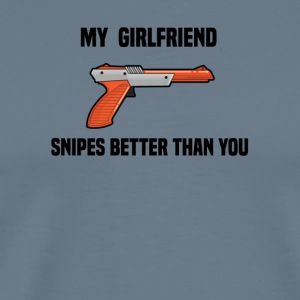 Girlfriend Snipes Better T-Shirt. Retro Gaming - Men's Premium T-Shirt