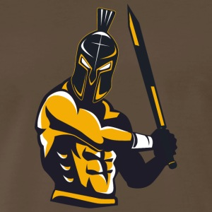 warrior in helmet with sword - Men's Premium T-Shirt