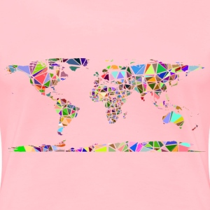 Low Poly Shattered World Map No Background - Women's Premium T-Shirt