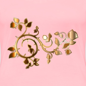 Gold Roses And Vines Silhouette Enhanced No Backgr - Women's Premium T-Shirt