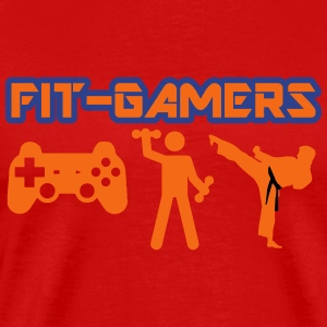 FIT-GAMERS Logo w/ Icons - Men's Premium T-Shirt