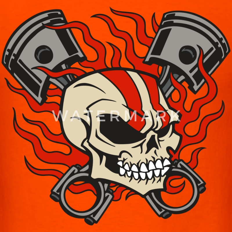 Flaming Skull & Pistons - Men's T-Shirt
