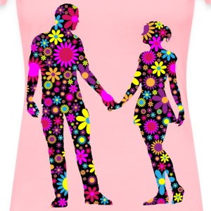 Floral Couple Silhouette - Women's Premium T-Shirt
