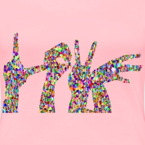Vivid Polychromatic Tiled Love Hands Silhouette - Women's Premium T-Shirt