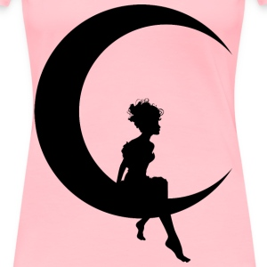 Fairy Sitting On Crescent Moon Silhouette - Women's Premium T-Shirt