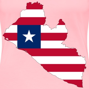 Liberia Flag Map With Stroke - Women's Premium T-Shirt