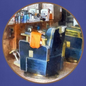 Barber Chair With Orange Barber Cape Aprons - Adjustable Apron