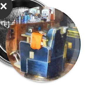 Barber Chair With Orange Barber Cape Buttons - Large Buttons