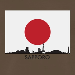 Sapporo Japan Skyline Japanese Flag - Men's Premium T-Shirt
