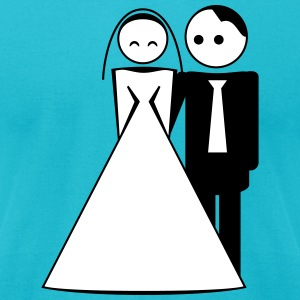couple / wedding / mariage / bride and groom 2c T-Shirts - Men's T-Shirt by American Apparel