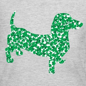 Dachshund made up of Green Shamrocks for St Pattys - Women's Long Sleeve Jersey T-Shirt