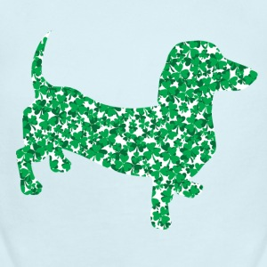 Dachshund made up of Green Shamrocks for St Pattys - Short Sleeve Baby Bodysuit