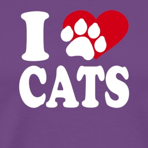 I LOVE CATS PAW ON HEART - Men's Premium T-Shirt