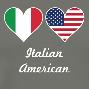 Italian American Flag Hearts - Men's Premium T-Shirt