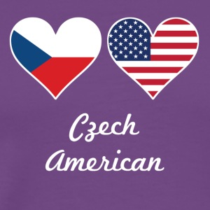 Czech American Flag Hearts - Men's Premium T-Shirt