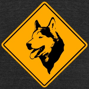 Husky Road Sign T-Shirts - Unisex Tri-Blend T-Shirt by American Apparel