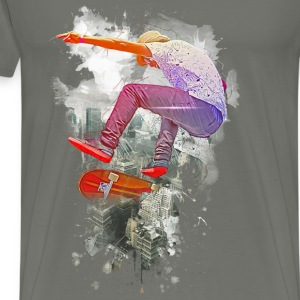 Skating over the city - Men's Premium T-Shirt