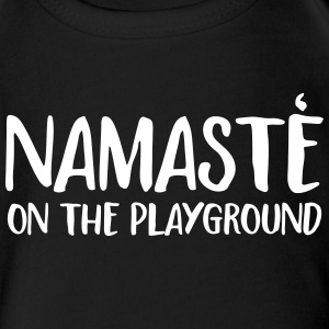 namaste on the playground Baby Bodysuits - Short Sleeve Baby Bodysuit