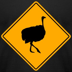 Ostrich Road Sign T-Shirts - Men's T-Shirt by American Apparel