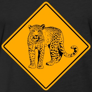 Leopard Road Sign T-Shirts - Fitted Cotton/Poly T-Shirt by Next Level