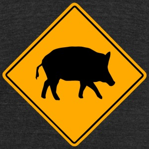 Wild Boar Road Sign T-Shirts - Unisex Tri-Blend T-Shirt by American Apparel