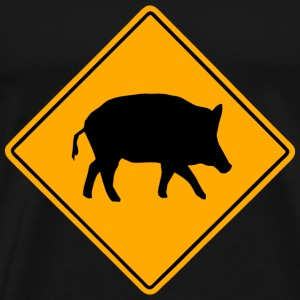 Wild Boar Road Sign T-Shirts - Men's Premium T-Shirt