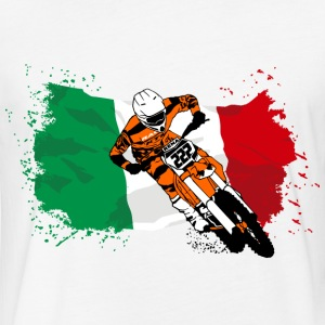 Moto Cross - Supercross - Italy Flag T-Shirts - Fitted Cotton/Poly T-Shirt by Next Level