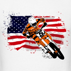 Moto Cross - Supercross - USA Flag T-Shirts - Men's T-Shirt