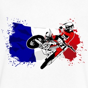 Moto Cross - Supercross - French Flag T-Shirts - Men's V-Neck T-Shirt by Canvas