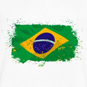 Brazil Flag T-Shirts - Men's V-Neck T-Shirt by Canvas