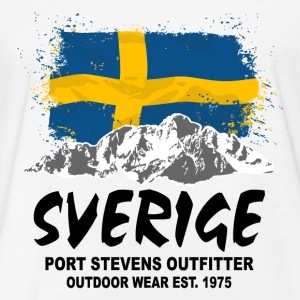 Sweden - Mountains & Flag T-Shirts - Fitted Cotton/Poly T-Shirt by Next Level