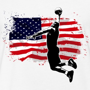 Basketball -  USA Flag T-Shirts - Fitted Cotton/Poly T-Shirt by Next Level