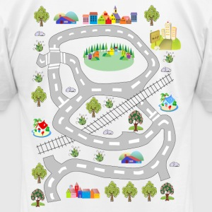 Colorful houses. Men's T-shirt. Print in back. - Men's T-Shirt by American Apparel