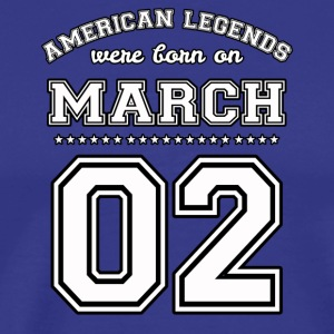 March 2 Birthday Date American Football Style - Men's Premium T-Shirt