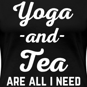 Yoga And Tea Funny Quote  T-Shirts - Women's Premium T-Shirt